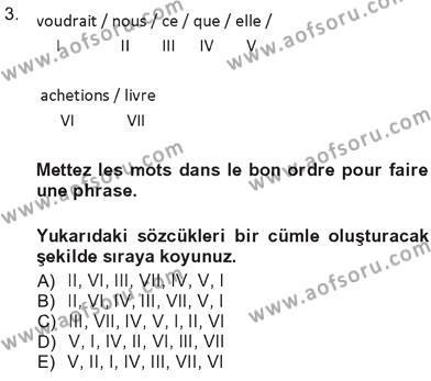 Fransızca 3 Dersi 2012 - 2013 Yılı Tek Ders Sınavı 3. Soru