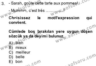 Fransızca 3 Dersi 2013 - 2014 Yılı Ara Sınavı 3. Soru