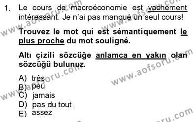 Felsefe Bölümü 8. Yarıyıl Fransızca IV Dersi 2013 Yılı Bahar Dönemi Dönem Sonu Sınavı 1. Soru