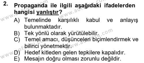 Halkla İlişkiler Dersi 2012 - 2013 Yılı Ara Sınavı 2. Soru