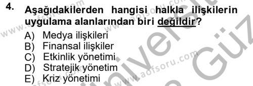 Halkla İlişkiler Dersi 2012 - 2013 Yılı Ara Sınavı 4. Soru