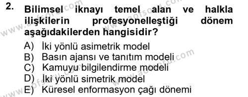 Halkla İlişkiler Dersi 2012 - 2013 Yılı Dönem Sonu Sınavı 2. Soru