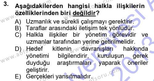 Halkla İlişkiler Dersi 2012 - 2013 Yılı Dönem Sonu Sınavı 3. Soru