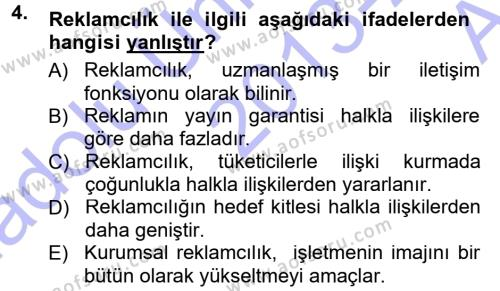 Yerel Yönetimler Bölümü 2. Yarıyıl Halkla İlişkiler Dersi 2014 Yılı Bahar Dönemi Ara Sınavı 4. Soru