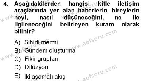 Halkla İlişkiler Dersi 2013 - 2014 Yılı Dönem Sonu Sınavı 4. Soru