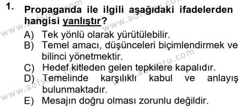 Spor Yönetimi Bölümü 2. Yarıyıl Halkla İlişkiler Dersi 2014 Yılı Bahar Dönemi Tek Ders Sınavı 1. Soru