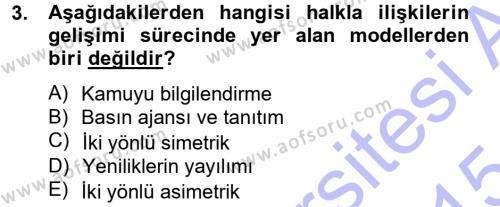 Halkla İlişkiler Dersi 2014 - 2015 Yılı Ara Sınavı 3. Soru