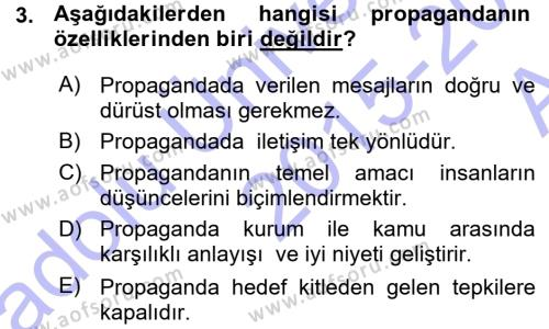 Yerel Yönetimler Bölümü 2. Yarıyıl Halkla İlişkiler Dersi 2016 Yılı Bahar Dönemi Ara Sınavı 3. Soru