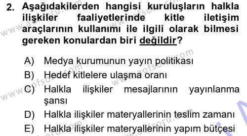 Halkla İlişkiler Dersi 2015 - 2016 Yılı Dönem Sonu Sınavı 2. Soru