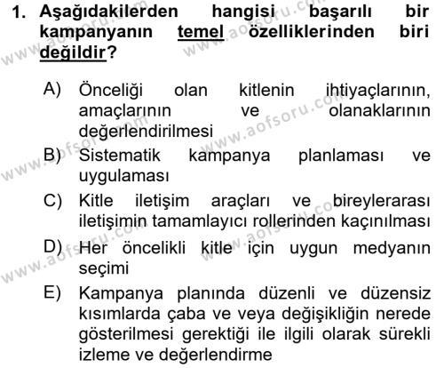 Halkla İlişkiler Dersi 2017 - 2018 Yılı (Final) Dönem Sonu Sınavı 1. Soru