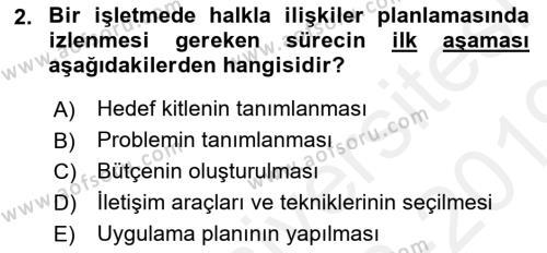 Halkla İlişkiler Dersi 2018 - 2019 Yılı (Final) Dönem Sonu Sınav Soruları 2. Soru