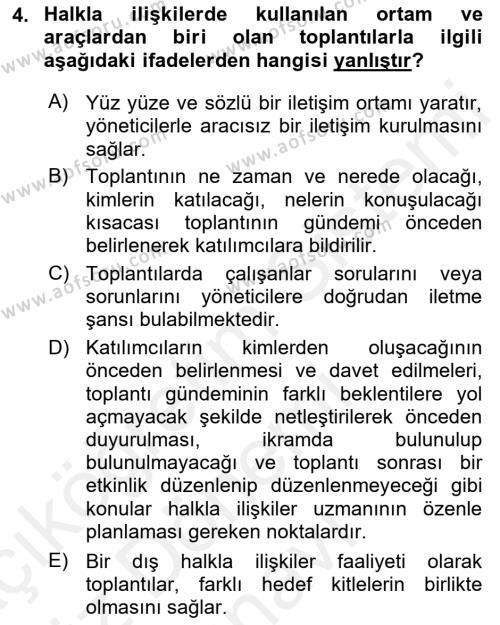 Halkla İlişkiler Dersi 2018 - 2019 Yılı (Final) Dönem Sonu Sınav Soruları 4. Soru