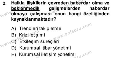 Halkla İlişkiler Yönetimi Dersi 2013 - 2014 Yılı Ara Sınavı 2. Soru