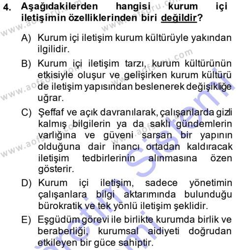 Halkla İlişkiler Yönetimi Dersi 2014 - 2015 Yılı Ara Sınavı 4. Soru