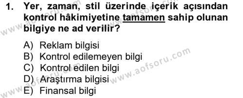 Halkla İlişkiler Yazarlığı Dersi 2012 - 2013 Yılı Ara Sınavı 1. Soru
