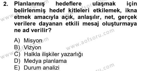 Halkla İlişkiler Yazarlığı Dersi 2012 - 2013 Yılı Ara Sınavı 2. Soru