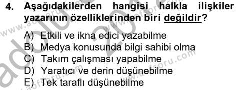 Halkla İlişkiler Yazarlığı Dersi 2012 - 2013 Yılı Ara Sınavı 4. Soru