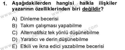 Halkla İlişkiler Yazarlığı Dersi 2013 - 2014 Yılı Ara Sınavı 1. Soru