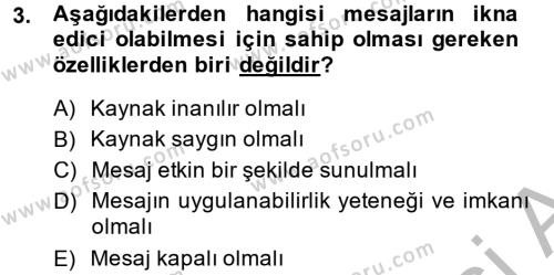 Halkla İlişkiler Yazarlığı Dersi 2013 - 2014 Yılı Ara Sınavı 3. Soru