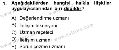 Halkla İlişkiler Yazarlığı Dersi 2013 - 2014 Yılı Dönem Sonu Sınavı 1. Soru