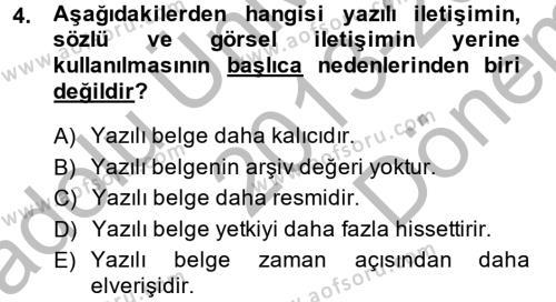 Halkla İlişkiler Yazarlığı Dersi 2013 - 2014 Yılı Dönem Sonu Sınavı 4. Soru