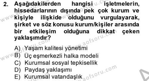 İnsan Kaynakları Yönetimi Bölümü 4. Yarıyıl Kurumsal Sosyal Sorumluluk Dersi 2014 Yılı Bahar Dönemi Ara Sınavı 2. Soru