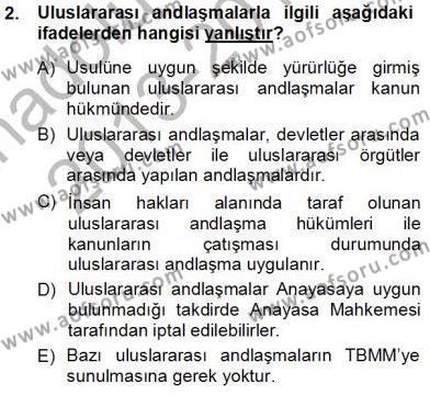 Maliye Bölümü 1. Yarıyıl Hukukun Temel Kavramları Dersi 2014 Yılı Güz Dönemi Tek Ders Sınavı 2. Soru