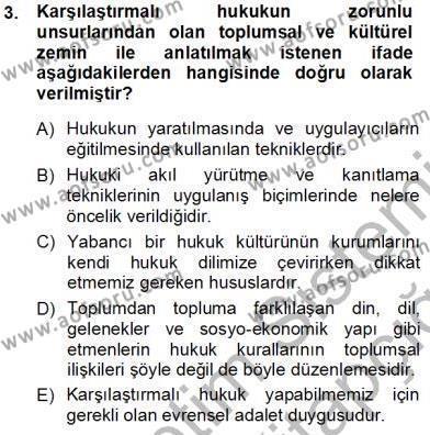Maliye Bölümü 1. Yarıyıl Hukukun Temel Kavramları Dersi 2014 Yılı Güz Dönemi Tek Ders Sınavı 3. Soru