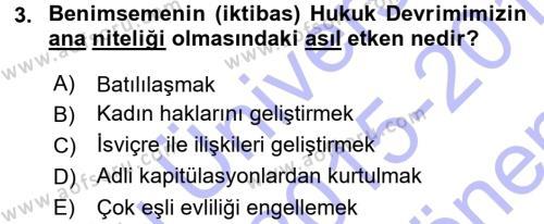 Hukukun Temel Kavramları Dersi 2015 - 2016 Yılı (Final) Dönem Sonu Sınavı 3. Soru
