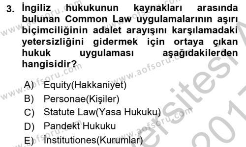 Hukukun Temel Kavramları Dersi 2016 - 2017 Yılı 3 Ders Sınavı 3. Soru