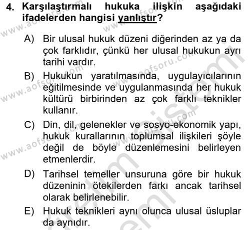 Hukukun Temel Kavramları Dersi 2016 - 2017 Yılı Ara Sınavı 4. Soru