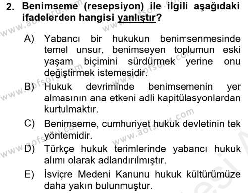 Hukukun Temel Kavramları Dersi 2016 - 2017 Yılı (Final) Dönem Sonu Sınavı 2. Soru