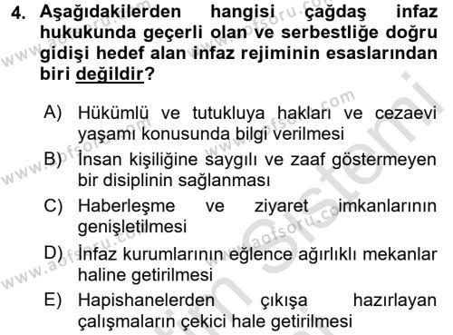 İnfaz Hukuku Dersi 2015 - 2016 Yılı (Final) Dönem Sonu Sınavı 4. Soru
