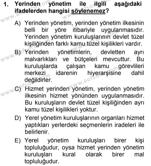 İdare Hukukuna Giriş Dersi 2012 - 2013 Yılı (Vize) Ara Sınavı 1. Soru
