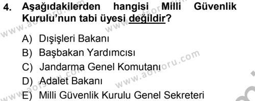 İdare Hukukuna Giriş Dersi 2012 - 2013 Yılı (Vize) Ara Sınavı 4. Soru