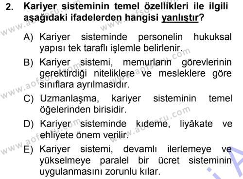 İdare Hukukuna Giriş Dersi 2012 - 2013 Yılı (Final) Dönem Sonu Sınavı 2. Soru