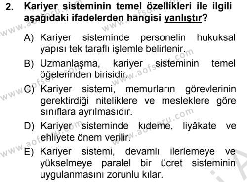 Adalet Bölümü 1. Yarıyıl İdare Hukukuna Giriş Dersi 2014 Yılı Güz Dönemi Tek Ders Sınavı 2. Soru