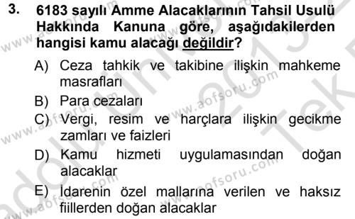 Adalet Bölümü 1. Yarıyıl İdare Hukukuna Giriş Dersi 2014 Yılı Güz Dönemi Tek Ders Sınavı 3. Soru