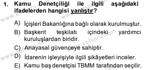 Adalet Bölümü 1. Yarıyıl İdare Hukukuna Giriş Dersi 2015 Yılı Güz Dönemi Ara Sınavı 1. Soru