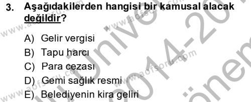 İdare Hukukuna Giriş Dersi 2014 - 2015 Yılı Dönem Sonu Sınavı 3. Soru