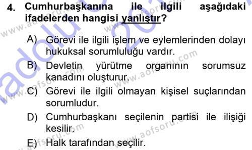 Adalet Bölümü 1. Yarıyıl İdare Hukukuna Giriş Dersi 2016 Yılı Güz Dönemi Ara Sınavı 4. Soru