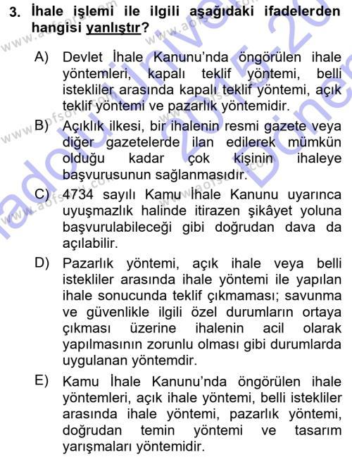 İdare Hukukuna Giriş Dersi 2015 - 2016 Yılı (Final) Dönem Sonu Sınavı 3. Soru
