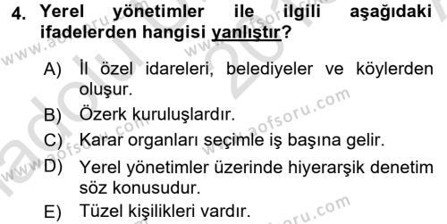 İdare Hukukuna Giriş Dersi 2016 - 2017 Yılı (Vize) Ara Sınavı 4. Soru