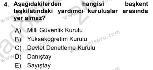 İdare Hukukuna Giriş Dersi 2017 - 2018 Yılı (Vize) Ara Sınavı 4. Soru