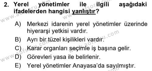 İdare Hukukuna Giriş Dersi 2018 - 2019 Yılı (Vize) Ara Sınav Soruları 2. Soru