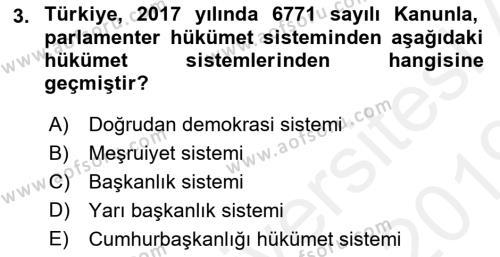 İdare Hukukuna Giriş Dersi 2018 - 2019 Yılı (Vize) Ara Sınav Soruları 3. Soru