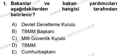 İdare Hukukuna Giriş Dersi 2018 - 2019 Yılı (Final) Dönem Sonu Sınav Soruları 1. Soru