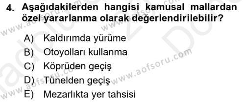 İdare Hukukuna Giriş Dersi 2018 - 2019 Yılı (Final) Dönem Sonu Sınav Soruları 4. Soru