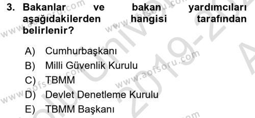İdare Hukukuna Giriş Dersi 2019 - 2020 Yılı (Vize) Ara Sınav Soruları 3. Soru