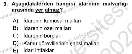 İdare Hukukuna Giriş Dersi 2019 - 2020 Yılı (Final) Dönem Sonu Sınav Soruları 3. Soru